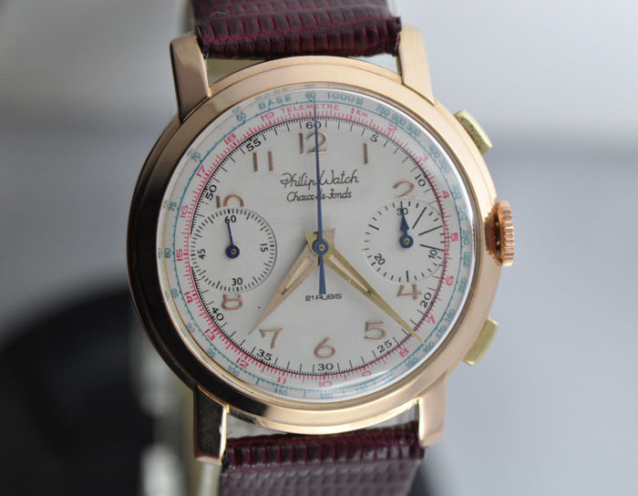Philip Watch - Chronograph Valjoux 22 in 18kt rose-gold - perfect chronograph - Mænd - 1901-1949
