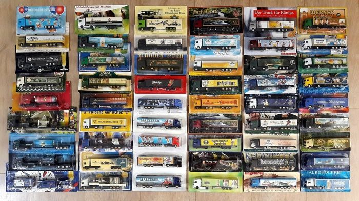 Collection with 54 advertising trucks, beer advertising only, from circa 1990 to 2010, in original packaging and in mint condition