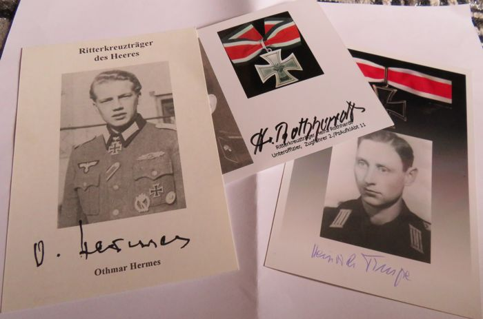 3 autographs of Knight's Cross recipients / Hermes