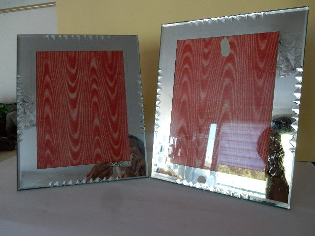 Two Beautiful Old Picture Frames Glass Mirror Edges Chiseled And
