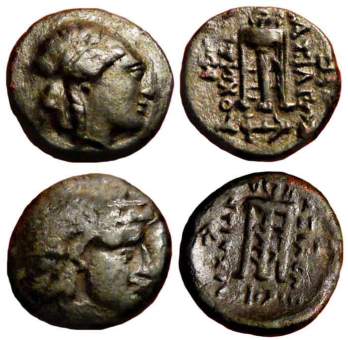 Griekenland (oud) - Lot of 2 AE coins:  Seleukid Empire, Antiochos II Theos - Apollo / Tripod - 261-246 b.C