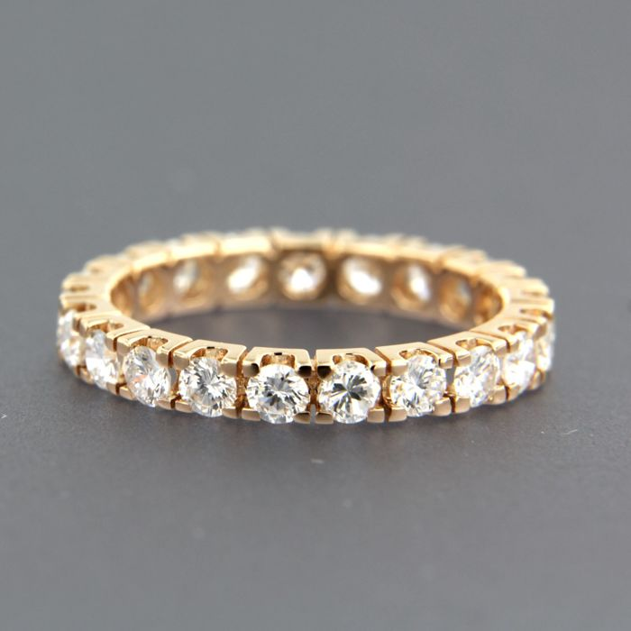18 kt rose gold full eternity ring set with 21 brilliant cut diamonds of approx. 1.50 ct in total - ring size 17 (53)