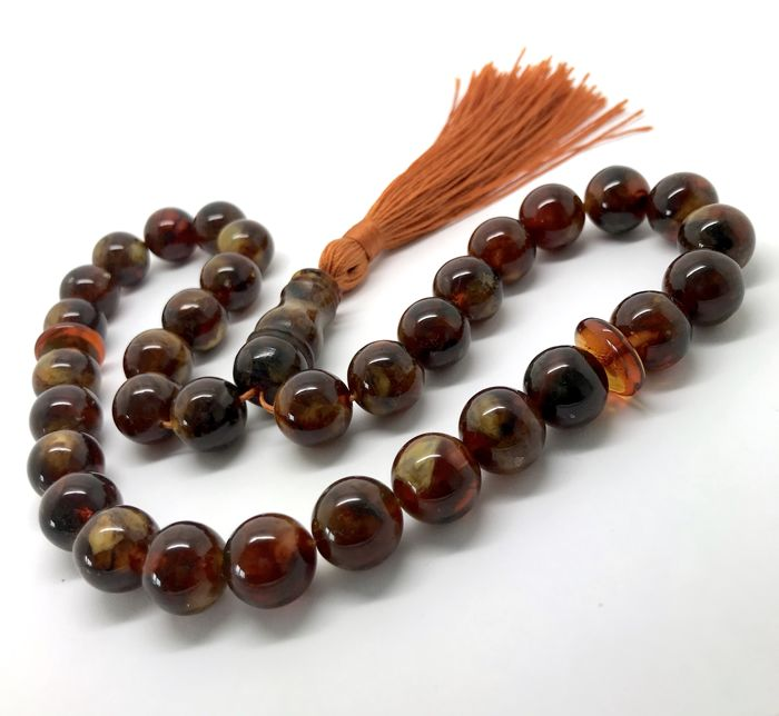 Tesbih Islamic prayer beads - natural Baltic amber beads of ø11 mm, 34.2 grams