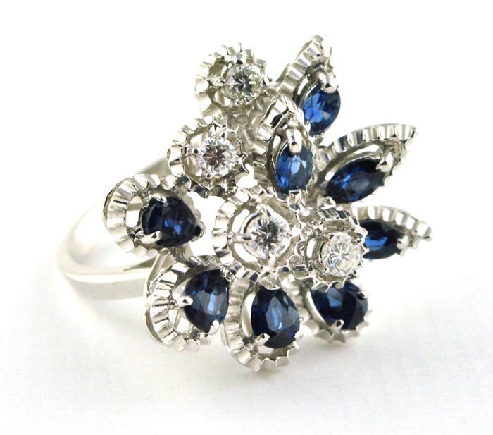 Ring - White gold - Diamond and Sapphire