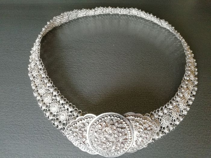 Antique sterling silver belt from South-East Asia - mid 20th century