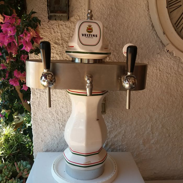 """Very nice old """"Veltins"""" beer pump made of ceramic, chrome-plated and stainless steel, with 3 tap points, 1950s, a true eye-catcher"""