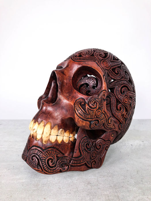Hand carved Human skull - Tribal style carving - Traditional