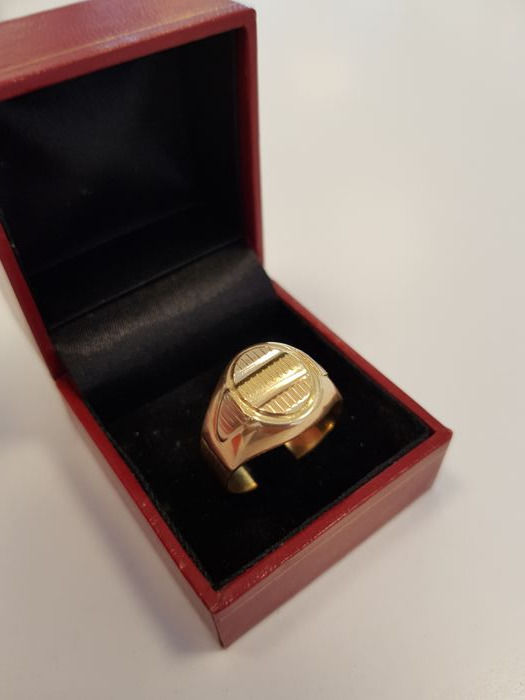 18k tricolour ring - size 20,5