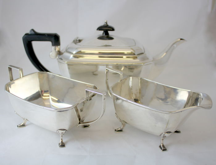 Antique silver plate three piece tea set, by L Ltd, Made in England Circa 1930's