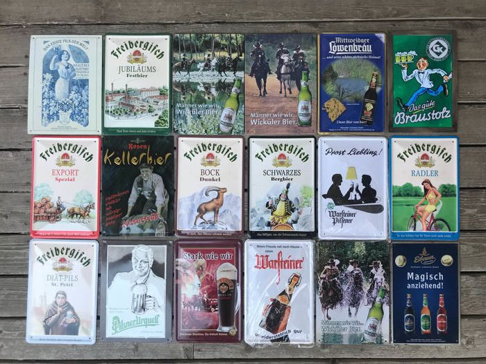 Lot of 52 licensed Beer advertising Tin Signs