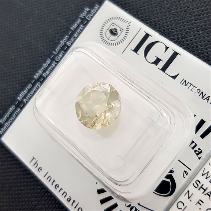 4.00 ct - Natural Fancy Diamond - Greenish Yellow Color - SI2 - VG/VG/VG - Very Low Reserve!