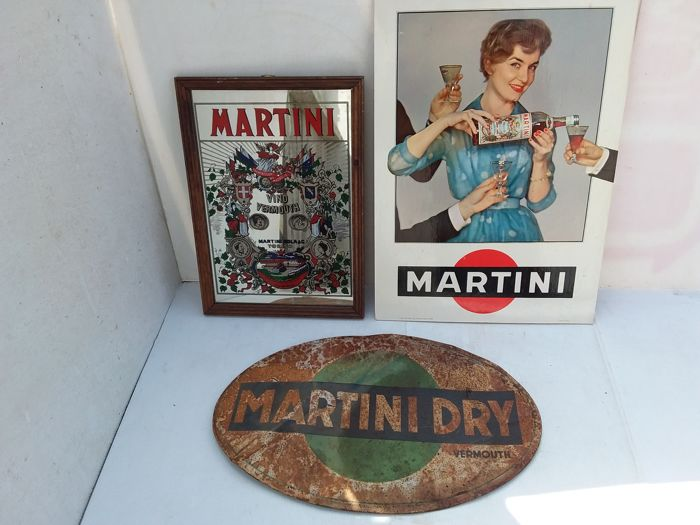 Old tin board for martini dry - 1952. old cardboard martini sign 1959. glass martini advertising sign 1995.