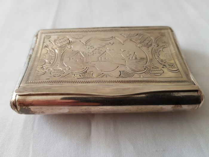 Silver snuff box with hinged cover, Master Monteban Schoonhoven, 1859