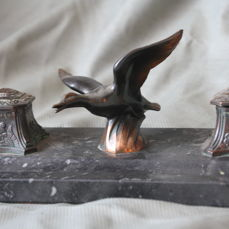 Art Deco bronze metal inkstand with bird
