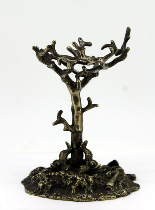 Vintage Silver plated statue Tree and fishes