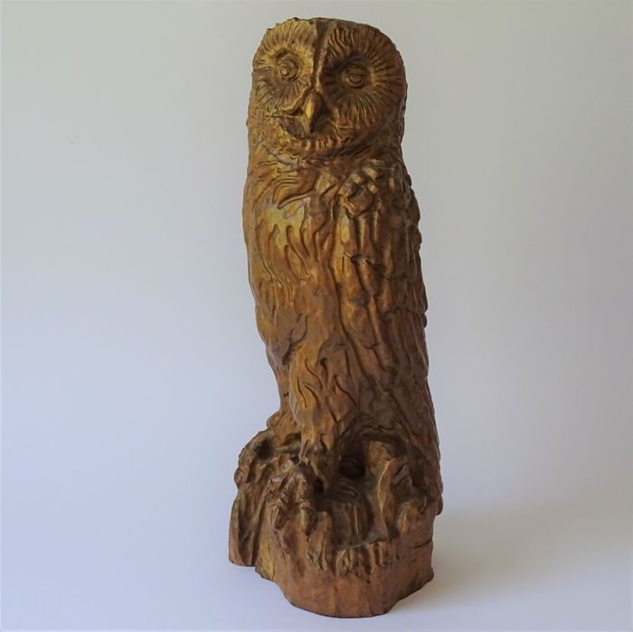 Large hand carved wooden owl
