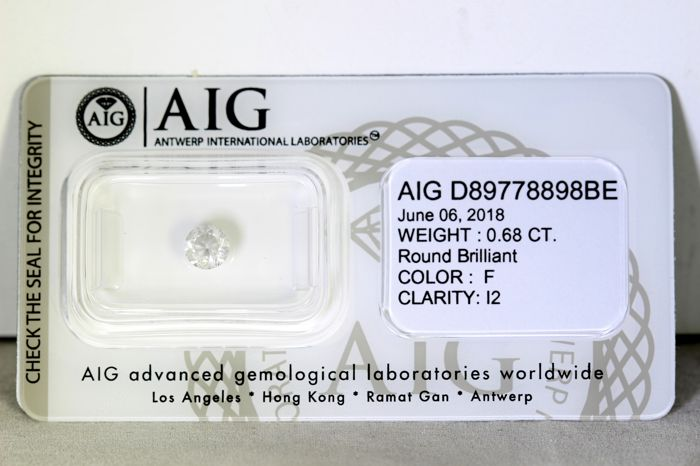 * NO RESERVE PRICE * - AIG Antwerp Diamond - 0.68 ct - F, I2