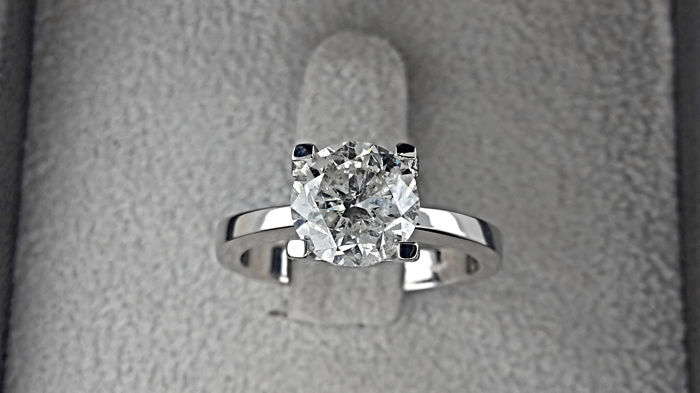 AIG 2.03 ct  E/SI1   Round Diamond Ring 18K White Gold