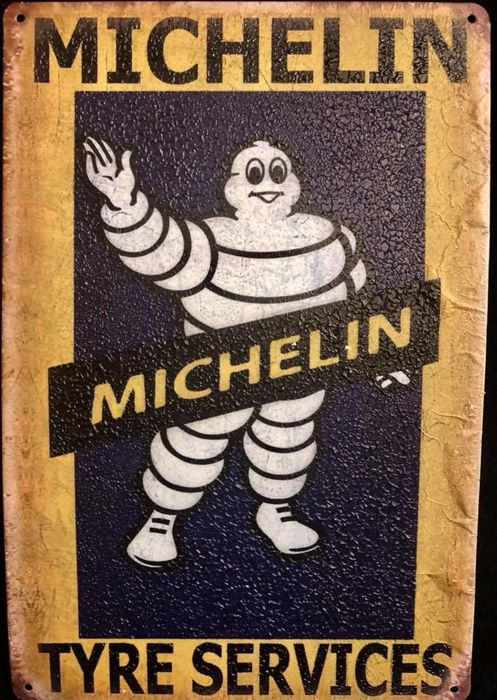 "A , vintage , advertising  cartel   . MICHELIN Tire Services  , tin plaque , with the image of popular "" Bibendum """