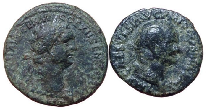 Romeinse Rijk - Lot x 2 Æ Asses: Domitian (81-96 AD) and Vespasian (69-79 AD).