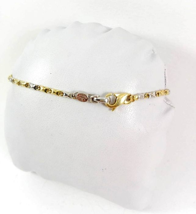 Men's bracelet by 'Karisma' in 18 kt yellow and white gold with natural diamond for 0.01 ct Weight 6.3 g
