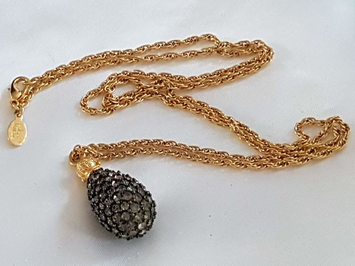 Joan rivers classic collection - necklace with inspired Fabergé crystal egg pendant - Vintage