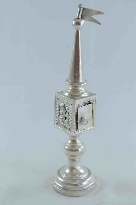 Judaica - silver plated Besamim tower spice box - turret with flag - Poland - ca. 1920's