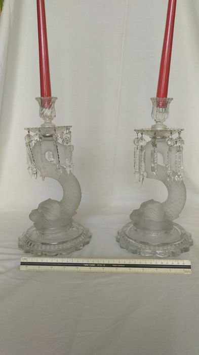 Baccarat - Pair of candlestick holders.