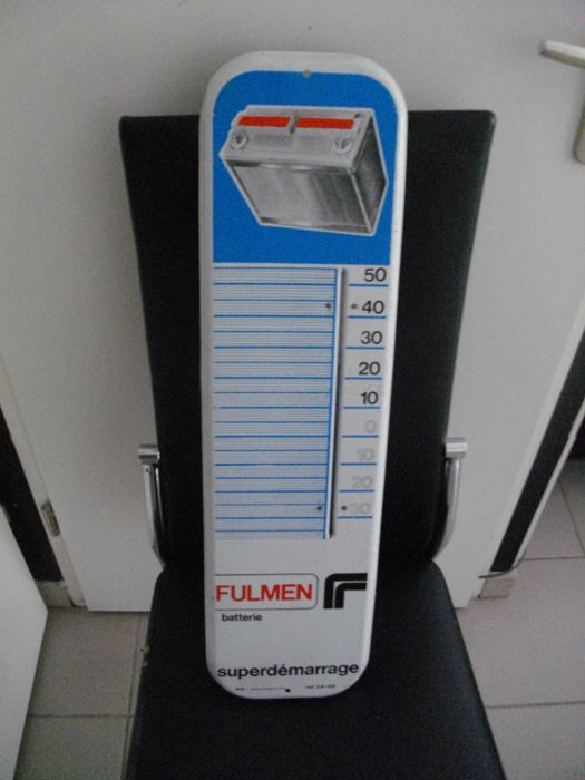 Vintage advertising thermometer Batterie Fulmen, 1950s
