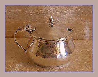 Sterling silver George V mustard pot w/ blue glass liner, Deakin and Francis, Birmingham, 1915 and spoon, William Davenport, Birmingham, 1904