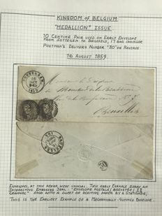 Belgique 1859 - Medaillon 10 op brief SOTTEGHEM-Brussel P109 - OBP / COB 10