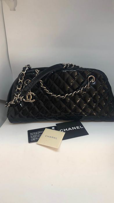 ad554797a4a9ab Chanel - Black Quilted Patent Leather Just Mademoiselle Bowling Shoulder bag
