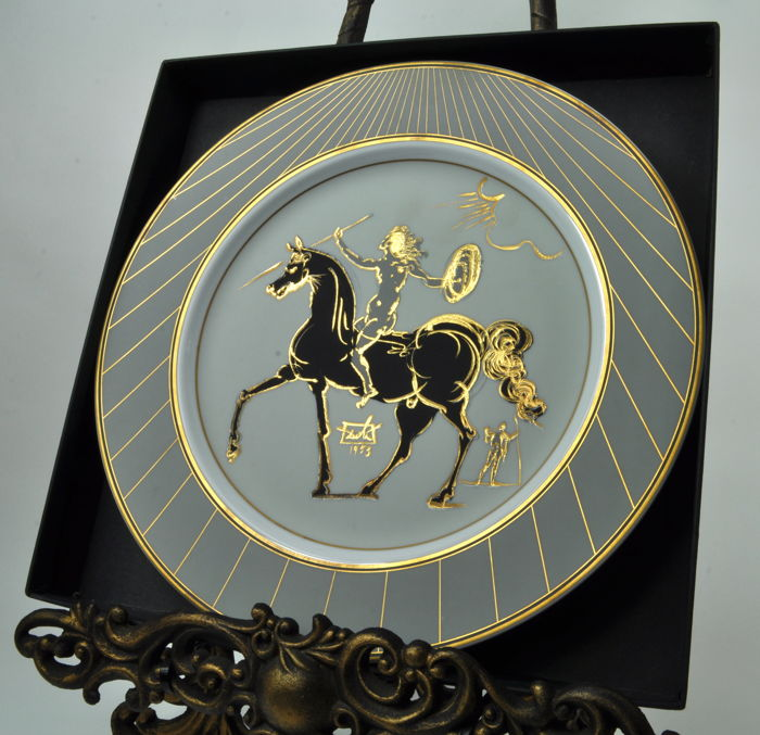 Salvador Dali Mythological Warrior (1953) - Porcelain plate with gold