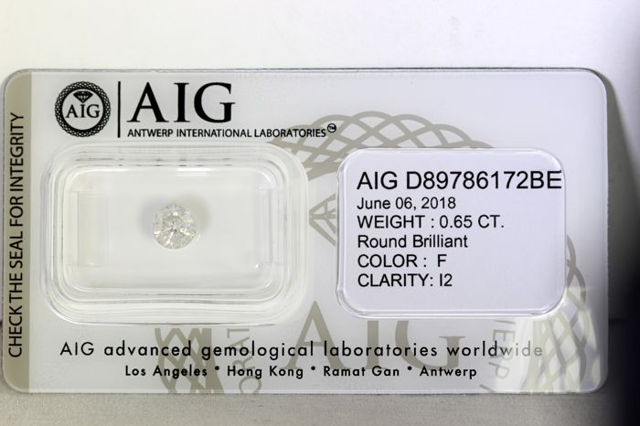 * NO RESERVE PRICE * - AIG Antwerp Diamond - 0.65 ct - F  , I2