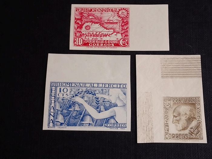 Spain 1934/35/39 - Three complete imperforated series