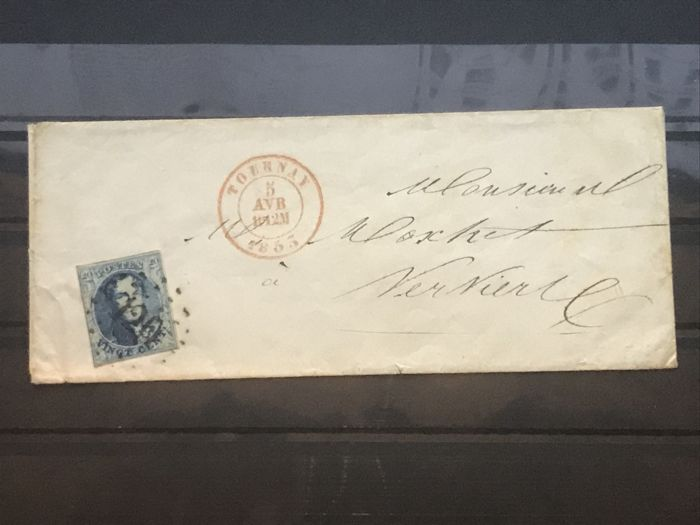 Belgium 1855 - Medallion 6 and 7 on letter Tournai dot cancellation 120 - OBP / COB 6–7