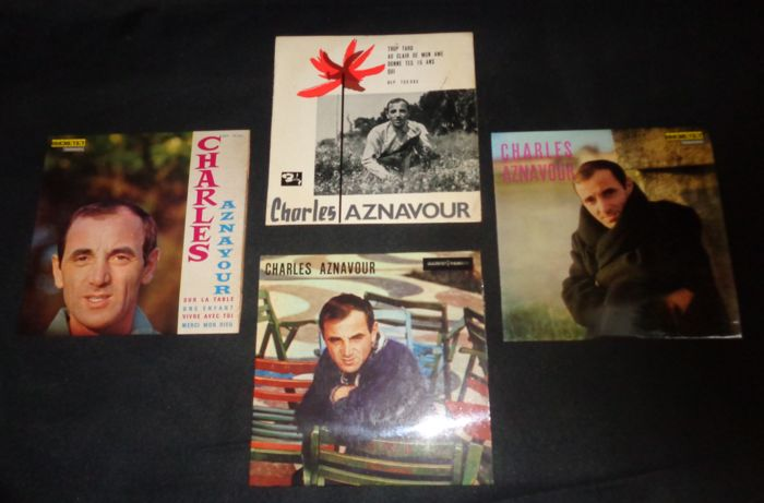 "4 Lot of  7"" rare Charles Aznavour -  Ducretet Johnson Collection: DEP 75 088 // DEP 75 091 // DEP 75 092 // Barclay: BEP 700 080"