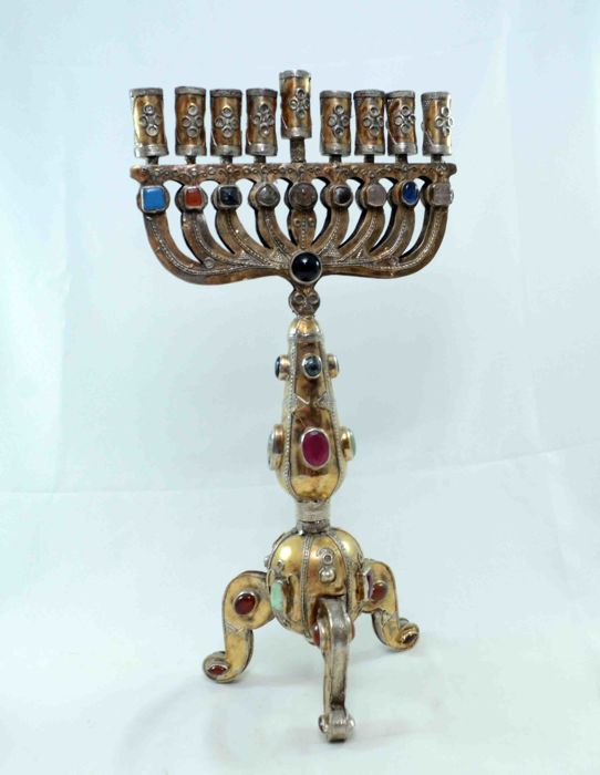 A silver Menorah - Hannukiah - embellished with filigree and various gemstones - Turkemenistan - first half 20th century