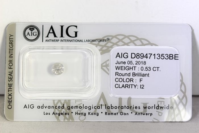 * NO RESERVE PRICE * - AIG Antwerp Diamant - 0.53 ct - F  , I2