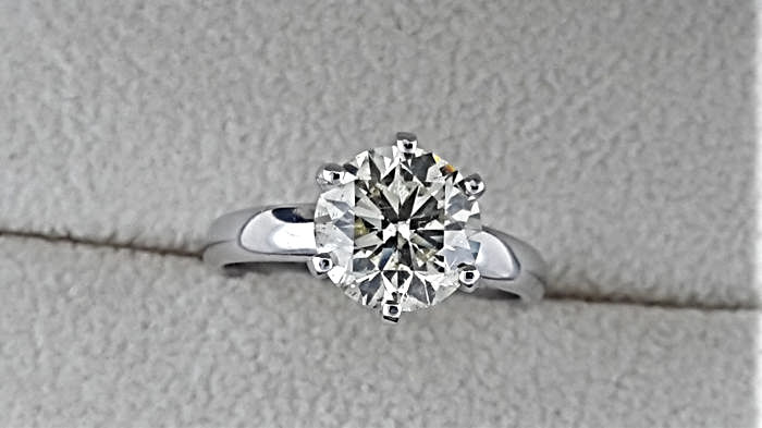 2.03 carat VS1 Fancy Yellow Intense Diamond Solitaire Engagement Ring in Solid White Gold 14K