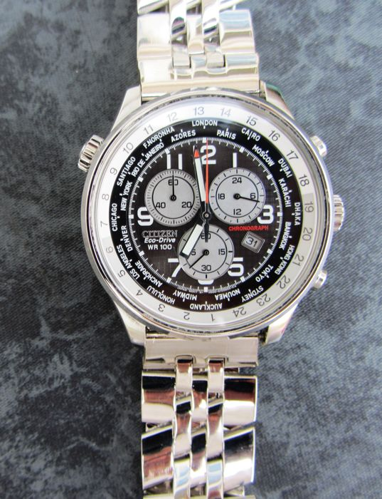 Citizen - Eco Drive World Time Chronograph Mulitstratp - AT0361-06E cal. H500 - Heren - 2011-heden