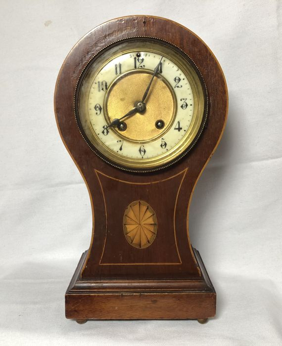 Antique Hamburg Amerikanische Uhrenfabrik Mantel Clock, Balloon clock for restoration, inlaid wood clock case - around 1900