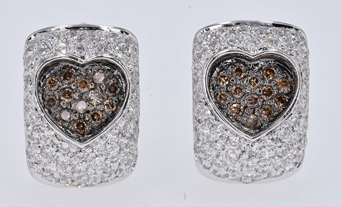 1.78 Ct Diamond heart earrings in 18kt white gold ***NO RESERVE price!***