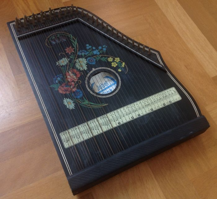 Zither/Harp Jubel Töne, Table model, 41 strings, Black, with