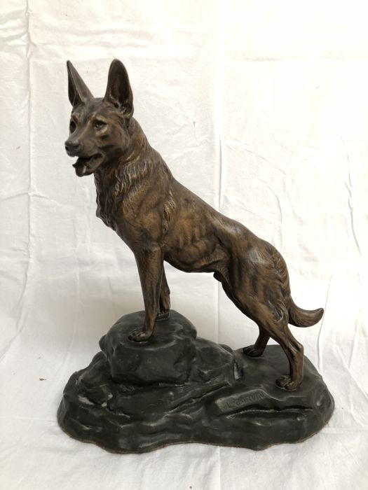 Louis Albert Carvin (1875-1951) - Statue in spelter of a German Shepherd - with founder stamp - circa 1910