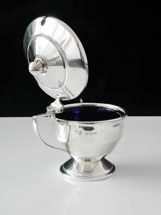 Large Silver Mustard Pot with Glass Liner, Birmingham 1936, Duncan & Scobbie