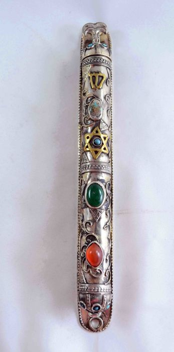A silver plated and parcel gilt Mezuzah case - filigree and gemstones - Seddai - Infinity - Turkey - first half 20th century