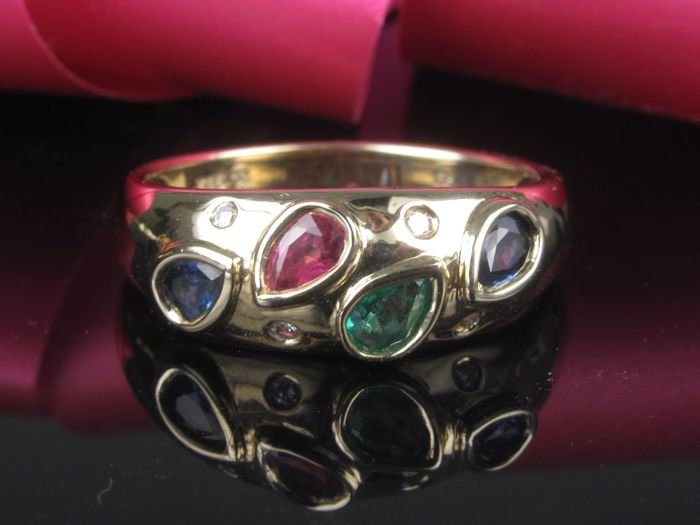 Gold 585 / 14 kt multi-coloured ring with diamond emerald sapphire ruby