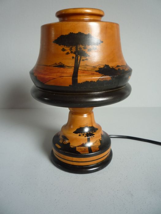 Brazil Sao Bento do Sul - Wooden Art Deco table lamp with shade decorated with landscape scenes - 1st half of the 20th century