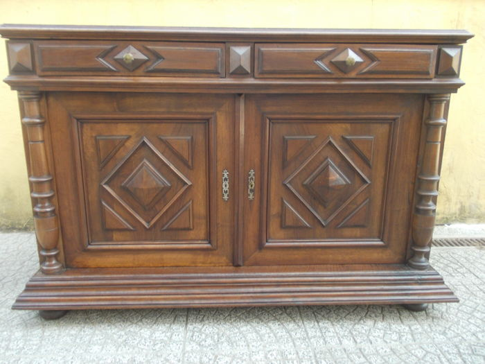 Antique solid walnut cupboard with two doors Richly decorated - France C. 1870